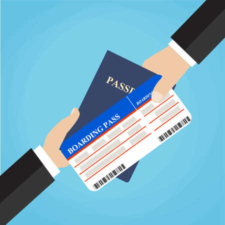 economy class: Businessman Receiving Boarding Pass and Passport from check-in Attendant. Close-up of a Businessman Handing Over His Boarding Pass and Passport at Airport check-in. Vector Illustration.