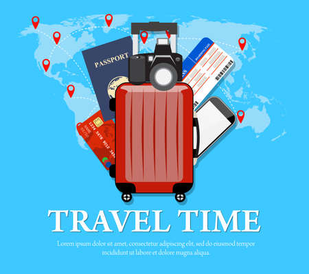 travel phone: Colourful travel concept vector flat banner with travel bag and world map. travel suitcase, Air tickets, passports and credit cards,phone, camera Illustration