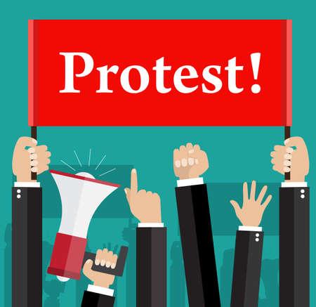 항의의 표시와 물러나, 사람들 시위대 배경, 정치, 정치 위기 포스터, 주먹, 혁명 플래 카드 개념을 기호로 평면 스타일의 현대적인 디자인 벡터 일러스트 레이 션의 군중을 손에 들고 스톡 콘텐츠 - 52617295