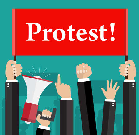 politics: Hands holding protest signs and bullhorn, crowd of people protesters background, political, politic crisis poster, fists, revolution placard concept symbol flat style modern design vector illustration