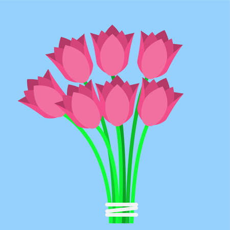 Pink tulips bouquet flat icon on a blue background