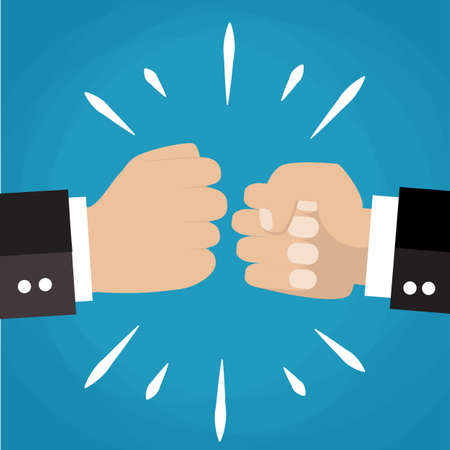 hands in the air: Two clenched fists in air punching. Vector illustration with two hands. Business conflict. Business greeting. Business agreement