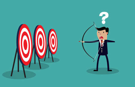 targets: Cartoon businessman with bow and many targets. Conceptual vector illustration on green background.