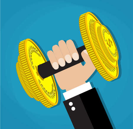 cartoon businessman: Business executive power lifting barbell made of golden coin. business financial strength and financial health. vector illustration in flat design on blue background