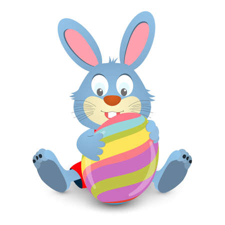 happy baby: Easter bunny holding a big egg. Vector illustration. Easter card with rabbit and eggs.
