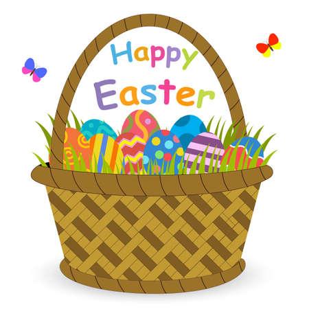 easter basket: Basket with easter eggs isolated on white background. Easter eggs in basket illustration, Easter eggs. Brown easter basket with eggs. Easter basket full of eggs. Easter color eggs vector illustration