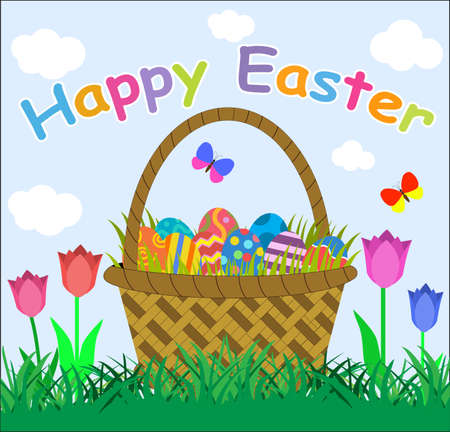 cartoon easter basket: Easter eggs in basket, basket full of eggs and tulips in green grass, blue sky and white clouds on background, vector illustration