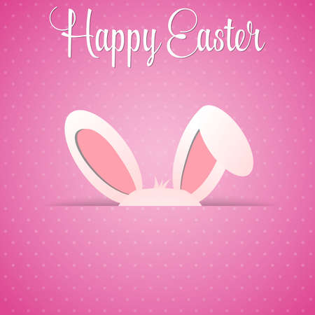 cartoon easter: Happy Easter card with rabbit ears. Easter rabbit for Easter holidays design. Easter bunny on pink background.