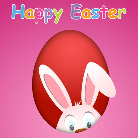 cartoon easter: Happy Easter card with egg and hiding rabbit. Happy Easter card with rabbit ears. Easter rabbit for Easter holidays design. Easter bunny on pink background.