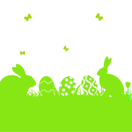 easter sign: Illustration cartoon Easter poster with rabbit and grass. Silhouette of easter rabbit with egg. vector illustration