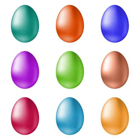 huevo caricatura: Iconos de Pascua los huevos del vector. Huevos de Pascua aislados del vector. Huevos de Pascua para las vacaciones Pascua diseño. Huevos de Pascua aislados sobre fondo blanco. huevos de Pascua