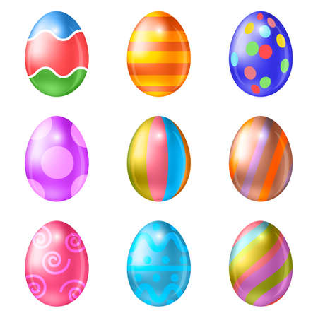 cartoon easter: Easter eggs vector icons . Easter eggs isolated vector. Easter eggs for Easter holidays design.  Easter eggs isolated on white background. Easter eggs