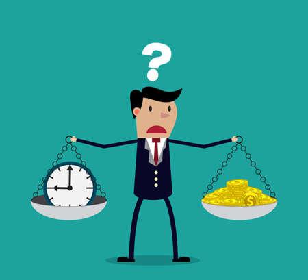 pieniądze: kobieta podejmowania decyzji pomiędzy czasu lub pieniędzy, czas jest koncepcja pieniędzy. Równoważenie czas i pieniądze. ilustracji wektorowych