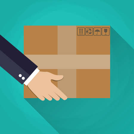 delivering: businessman Hand carrying a cardboard box. delivery concept. vector illustration in flat design on green background with long shadow