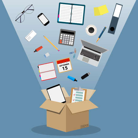 Concept of moving into a new office, cardboard box with documents, laptop, calculator, calendar, tablet PC, coffee cup. vector illustration in flat design on blue background Vettoriali