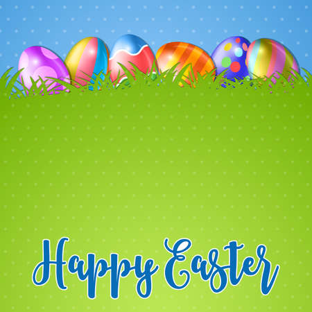 green grass and blue sky: Easter background and egg in grass. several colorful eggs and in green grass, blue sky on background, vector illustration Illustration