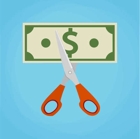 Scissors cutting money bill. vector illustration in flat design on green background. Reducing cost concept