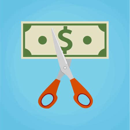 Tijeras que cortan la cuenta de dinero. ilustración vectorial en diseño plano sobre fondo verde. La reducción concepto de costo Ilustración de vector