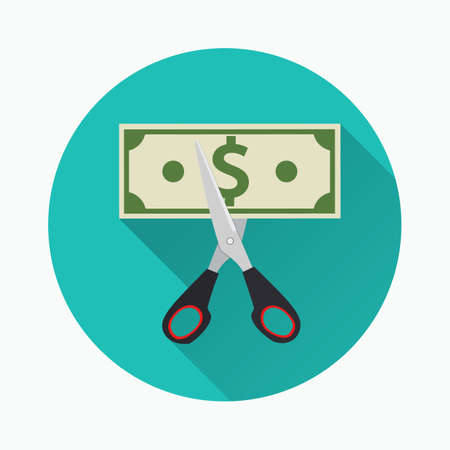 Scissors cutting money bill. vector illustration  icon in flat design on green background with long shadow. Reducing cost concept