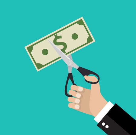 worthless: Businessman Hands holding scissors and cutting money bill. Reducing cost concept. vector illustration in flat design on green background