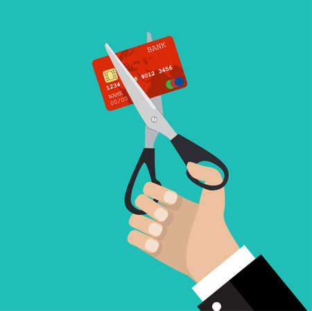business man hand hold scissors cutting credit card. Illustration suitable for advertising and promotion. vector illustration in flat design on green background Illustration