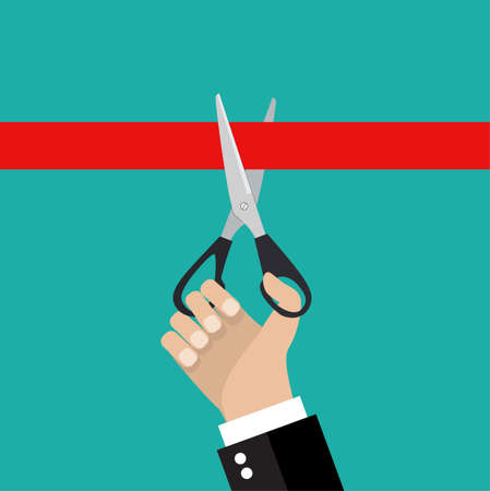pair of scissors: Human hand holding a pair of scissors and cut the red ribbon. Stock vector illustration. Vector illustration Illustration