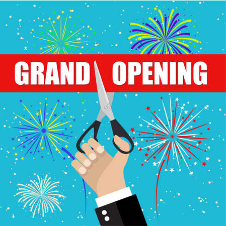 introducing: Grand opening with fireworks. Grand opening ceremony and celebration and event. Scissors cut red ribbon. Vector illustration