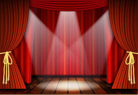 Teatralne sceny z czerwonymi zasłonami i drewnianej podłodze. ilustracji wektorowych Zdjęcie. Ilustracje wektorowe