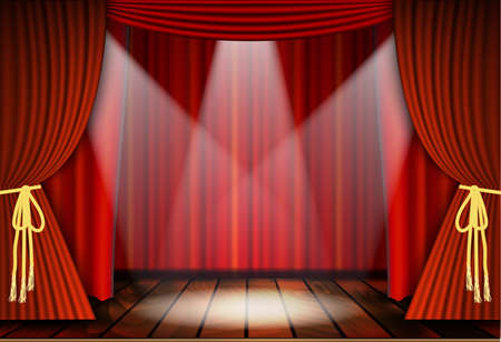 curtain background: Theatrical scene with red curtains and wooden floor. Stock vector illustration.