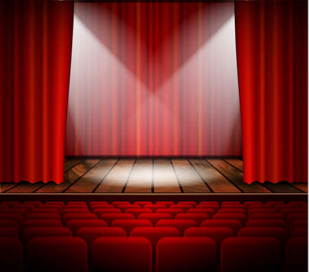 theater seat: A theater stage with a red curtain, seats and a spotlight. Vector.