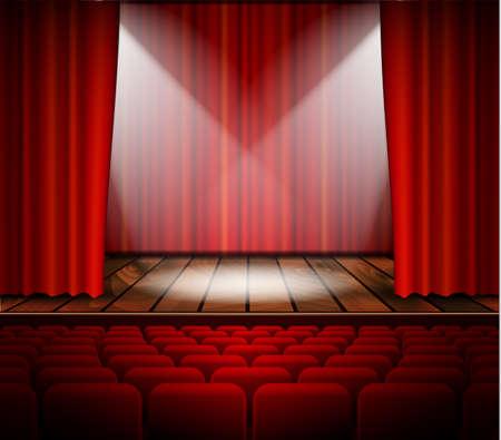 telon de teatro: Una etapa del teatro con una cortina roja, asientos y un centro de atenci�n. Vector.