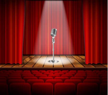 Metallic zilver vintage microfoon staan op lege scène onder straal van licht schijnwerper. microfoon op het podium in het donker tegen rode gordijn achtergrond. vector afbeelding kunst illustratie, retro design