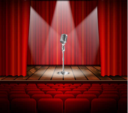 mc: Metallic silver vintage microphone standing on empty stage under beam of spotlight light. mic on podium in the dark against red curtain backdrop. vector art image illustration, retro design Illustration