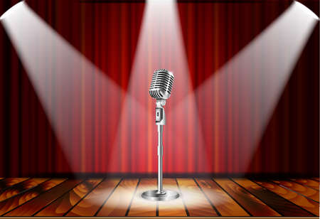 Metallic silver vintage microphone standing on empty stage under beam of spotlight light. mic on podium in the dark against red curtain backdrop. vector art image illustration, retro design Иллюстрация