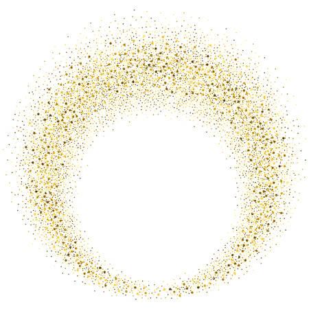Vector gold glitter circle abstract background, golden sparkles on white background,  Gold glitter card design. vector illustration vip  design template. Vettoriali