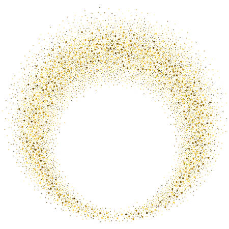 Vector gold glitter circle abstract background, golden sparkles on white background,  Gold glitter card design. vector illustration vip  design template. Stock Illustratie