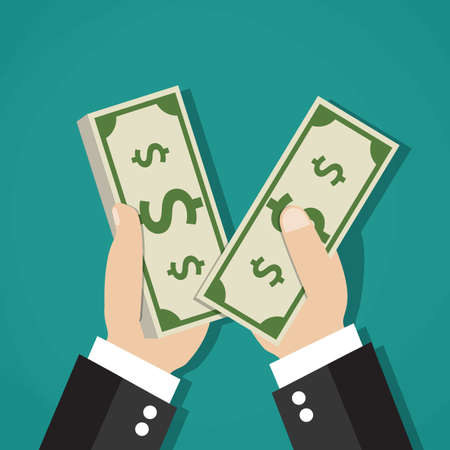 counting money: income concept. businessman counting cash money, on green background. Vector illustration in flat design Illustration