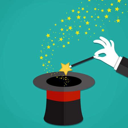 mago: Los magos de la historieta de las manos en guantes blancos, sosteniendo una varita mágica con estrellas chispas por encima de negro sombrero mágico. Ilustración del vector en diseño plano sobre fondo verde