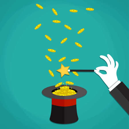 hat trick: Money in the hat magic trick concept. Hand with white glove holding magic wand with flying money above a hat. Vector illustration in flat design on green background