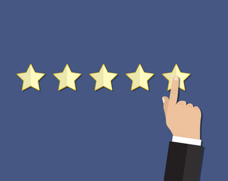 review: cartoon hand gives a star rating. voting, user review, feedback concept. vector illustration in flat design on blue background
