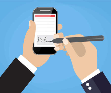 Businessman Hands signing Digital signature on Smart Cell Phone. Vector illustration in flat design  for business concept.