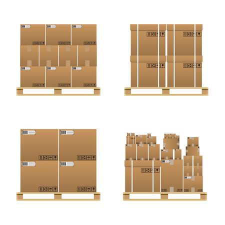 Conjunto de cajas de cartón de entrega marrones cerrados en varios tamaños con signos frágiles y código de barras en la paleta de madera. ilustración vectorial en diseño plano aislado en el fondo blanco Ilustración de vector