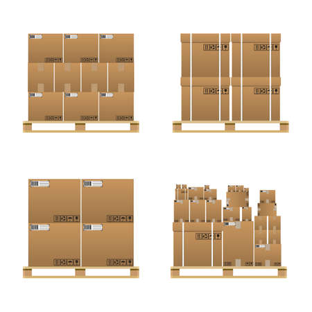 Set of closed brown carton delivery boxes in various sizes with fragile signs and barcode on wooden pallet. vector illustration in flat design isolated on white background