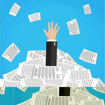 worker cartoon: empresario de dibujos animados se subraya en la pila de papeles y documentos de oficina. El estrés en el trabajo. Trabajar demasiado. Ilustración del vector en diseño plano sobre fondo azul.