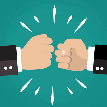 la union hace la fuerza: Two clenched fists in air punching. Vector illustration with two hands. Business conflict. Business greeting. Business agreement