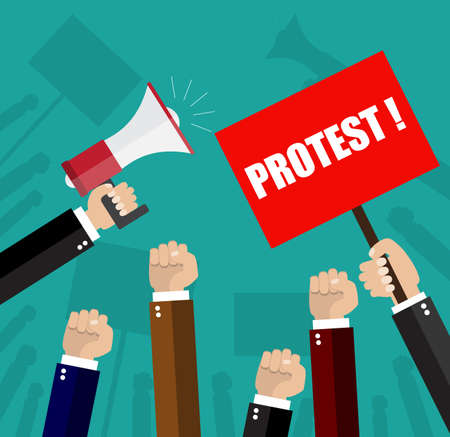 protest design: Cartoon hands of demonstrants and hand with Megaphone, protest concept, revolution, conflict, vector illustration in flat design on green background Illustration