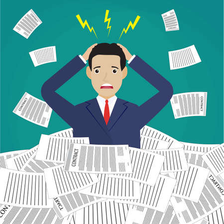 pile of documents: Stressed cartoon businessman in pile of office papers and documents. Stress at work. Overworked. Vector illustration in flat design on green background.