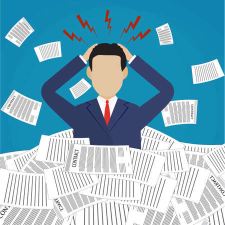 pile of documents: Stressed cartoon businessman in pile of office papers and documents. Stress at work. Overworked. Vector illustration in flat design on blue background. Illustration