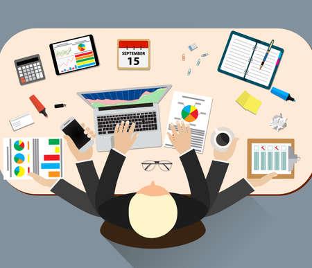 ilustración vectorial de trabajo estrés en el trabajo de oficina. El estrés en el trabajo. hombre de negocios de muchas manos. Vida de la oficina hombre de negocios. Situación de asunto. La gente de acción. Ordenador, mesa, muchas manos. Gente de la oficina. El estrés laboral
