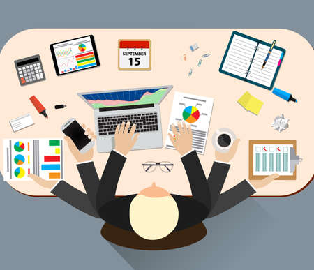 Ilustracja pracy stres wektor pracy biurowej. Stres na pracy. Biznes człowiek wiele rąk. Urząd życia człowiek biznesu. Sytuacja biznesowa. Ludzie działania. Komputer, stół, wiele rąk. ludzie biurowe. stres pracy